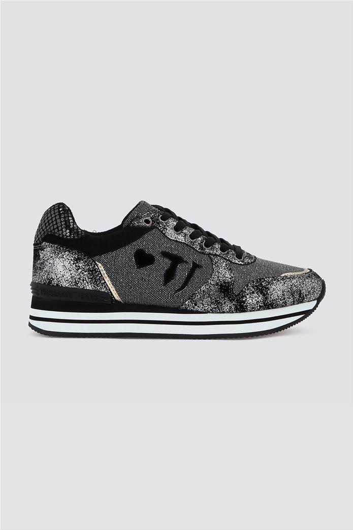 Trussardi γυναικεία sneakers με μεταλλικές λεπτομέρειες Μαύρο 0