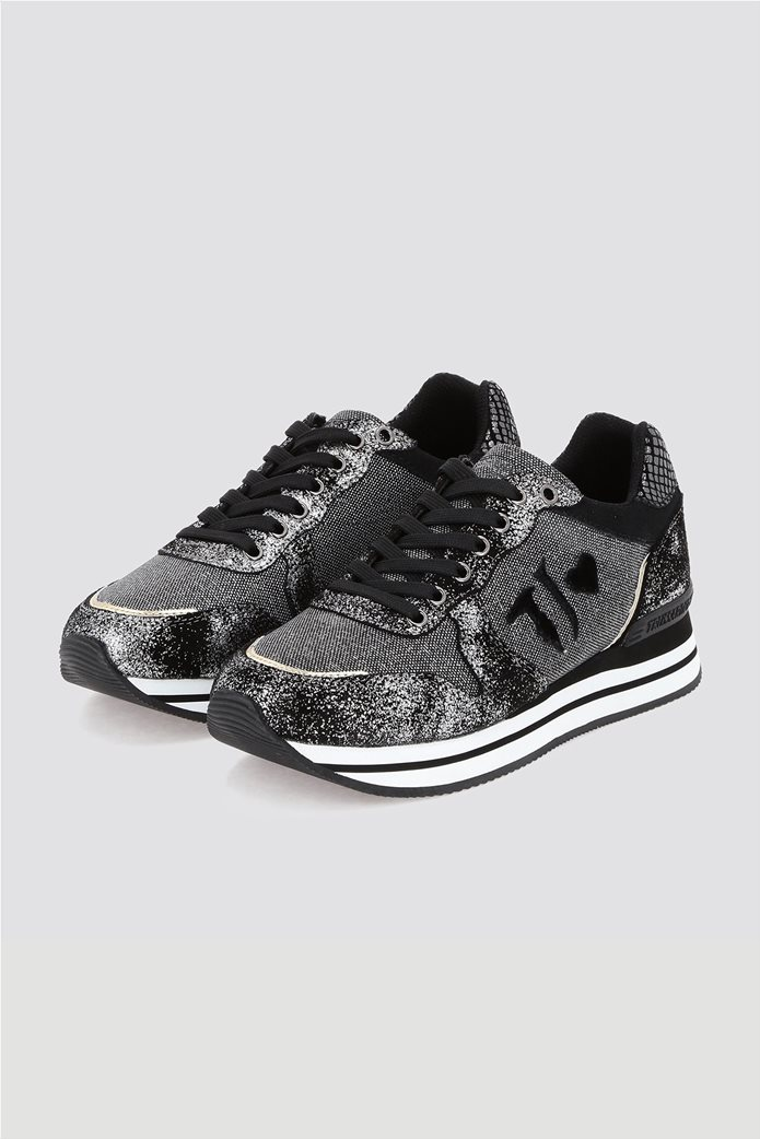 Trussardi γυναικεία sneakers με μεταλλικές λεπτομέρειες Μαύρο 1