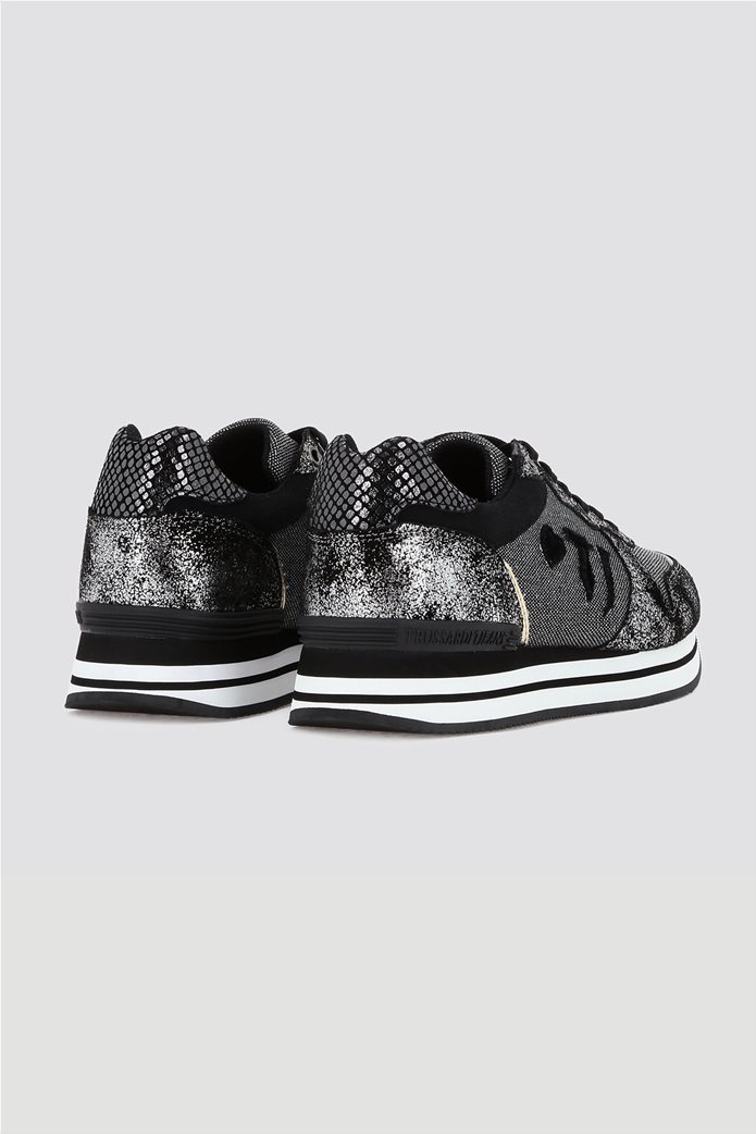 Trussardi γυναικεία sneakers με μεταλλικές λεπτομέρειες Μαύρο 2