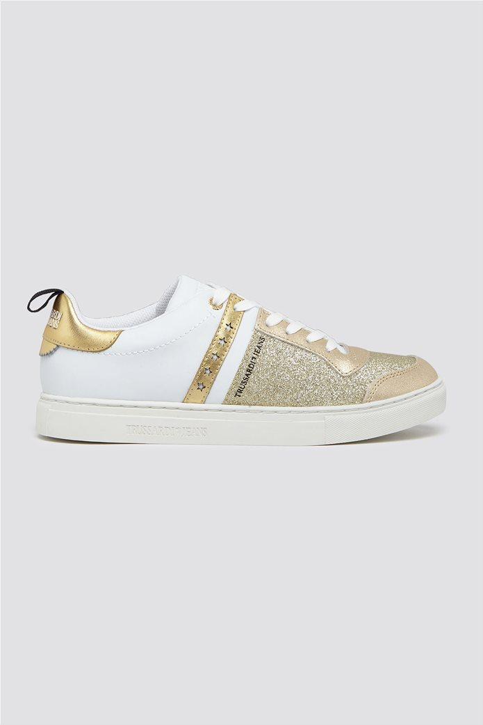 Trussardi Jeans γυναικεία δερμάτινα sneakers με glitter 0