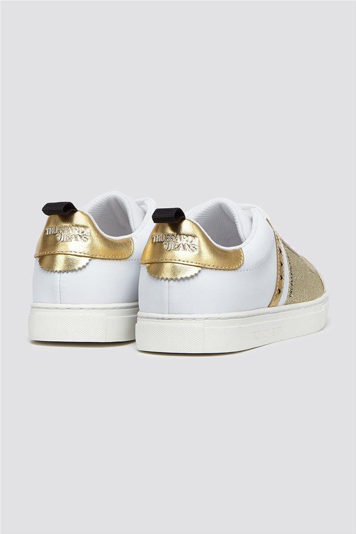 Trussardi Jeans γυναικεία δερμάτινα sneakers με glitter 2