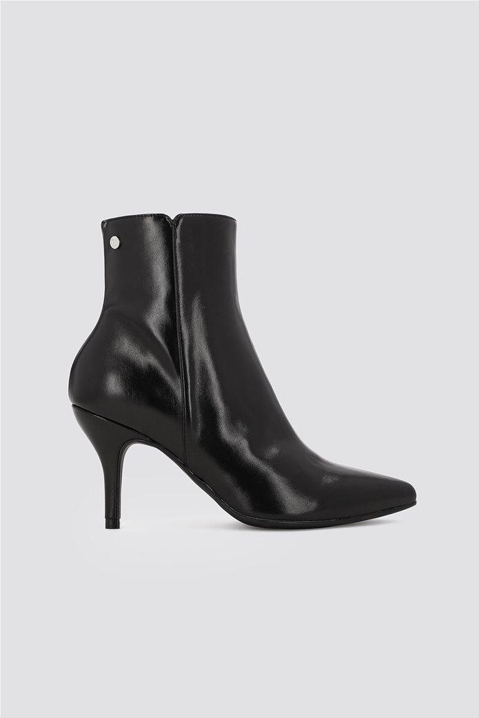 Trussardi Jeans γυναικείo δερμάτινo μποτάκι Μid height heel 0