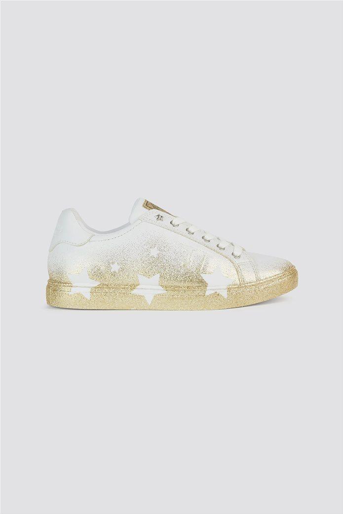 Trussardi Jeans γυναικεία sneakers με glitter λεπτομέρειες Stars Ασημί 0