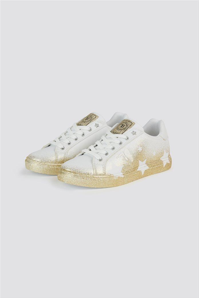 Trussardi Jeans γυναικεία sneakers με glitter λεπτομέρειες Stars Ασημί 1