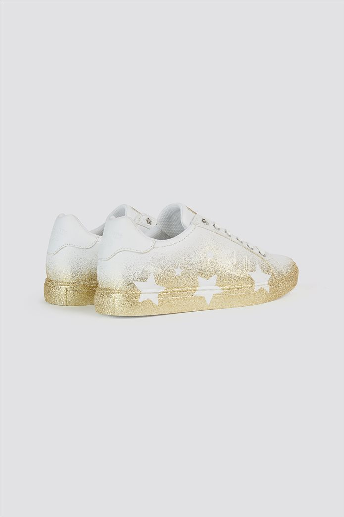 Trussardi Jeans γυναικεία sneakers με glitter λεπτομέρειες Stars Ασημί 2