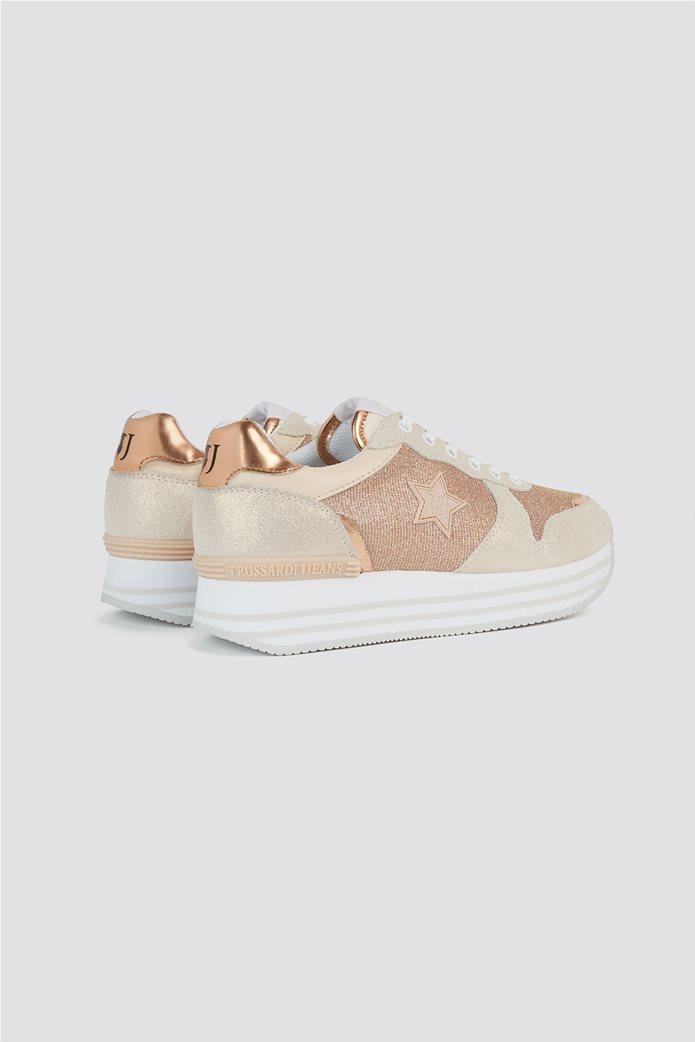 Trussardi Jeans γυναικεία sneakers μεταλλιζέ με πλατφόρμα 2