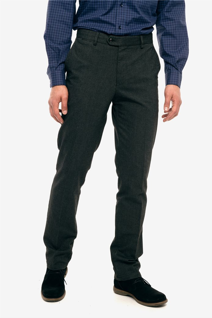 The Bostonians ανδρικό παντελόνι με ανάγλυφη υφή slim fit 1