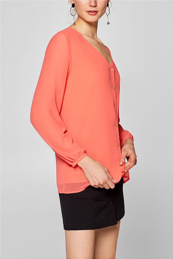 Esprit γυναικεία μπλούζα chiffon με κουμπάκια Κοραλί 0