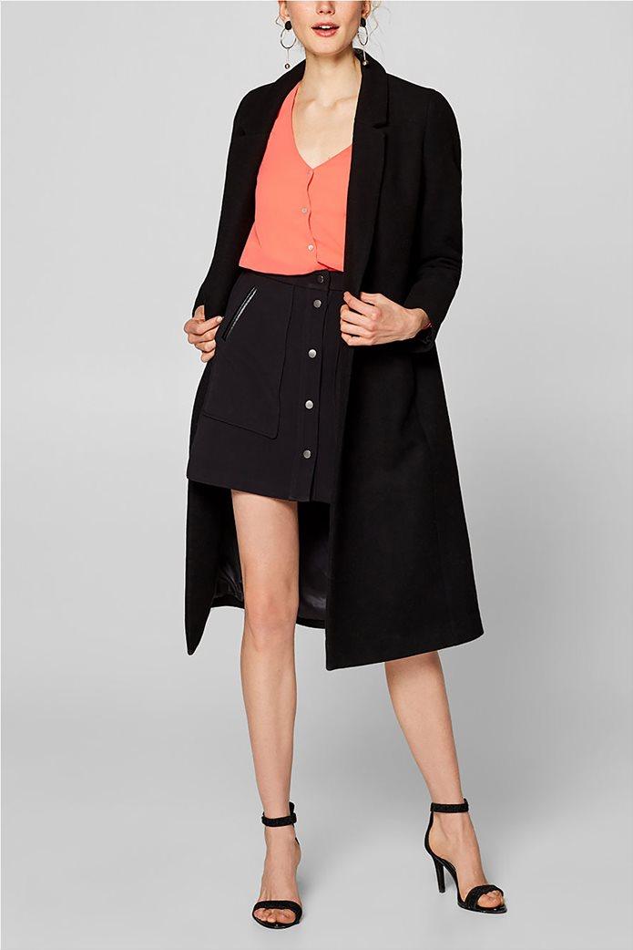 Esprit γυναικεία μπλούζα chiffon με κουμπάκια Κοραλί 1