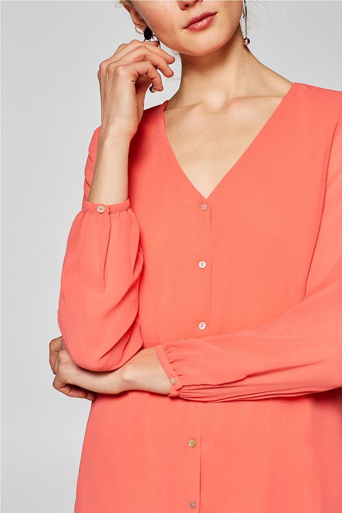 Esprit γυναικεία μπλούζα chiffon με κουμπάκια Κοραλί 2