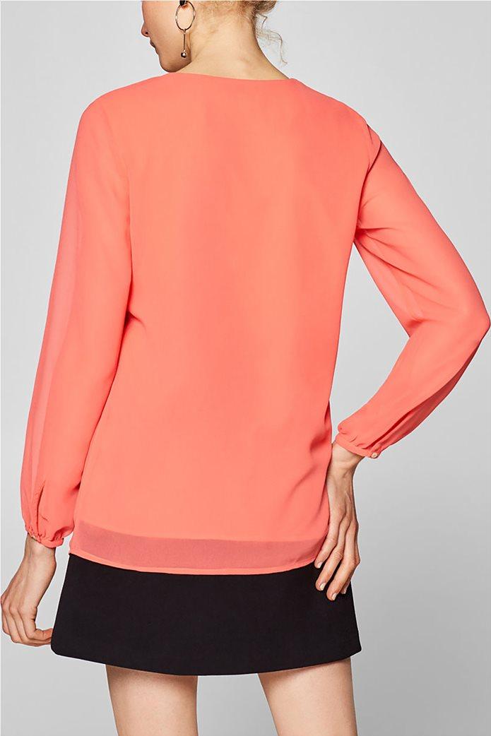 Esprit γυναικεία μπλούζα chiffon με κουμπάκια Κοραλί 3