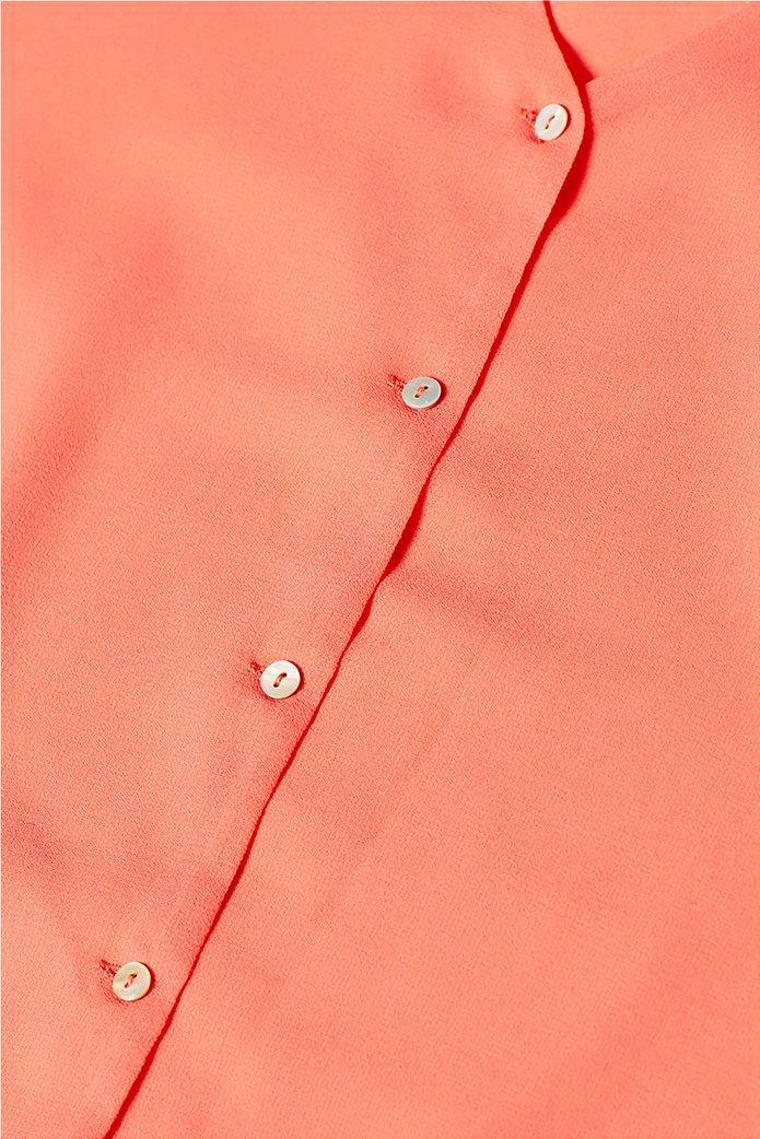 Esprit γυναικεία μπλούζα chiffon με κουμπάκια Κοραλί 4