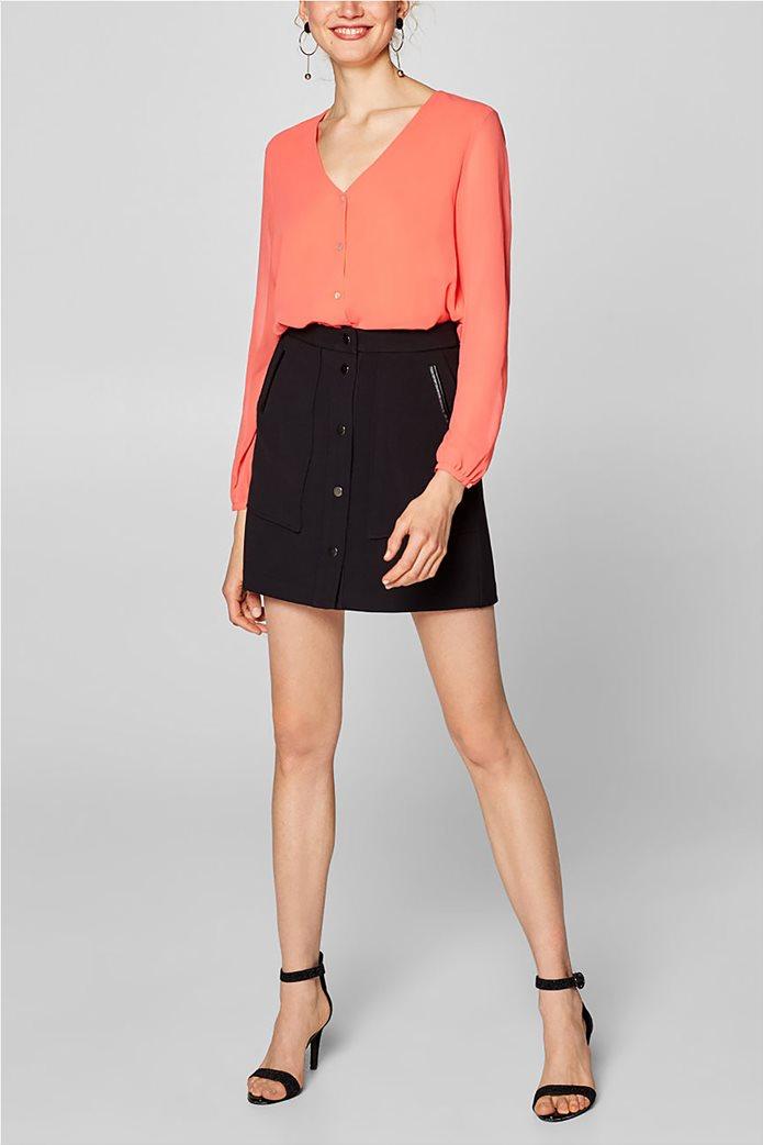 Esprit γυναικεία μπλούζα chiffon με κουμπάκια Κοραλί 5