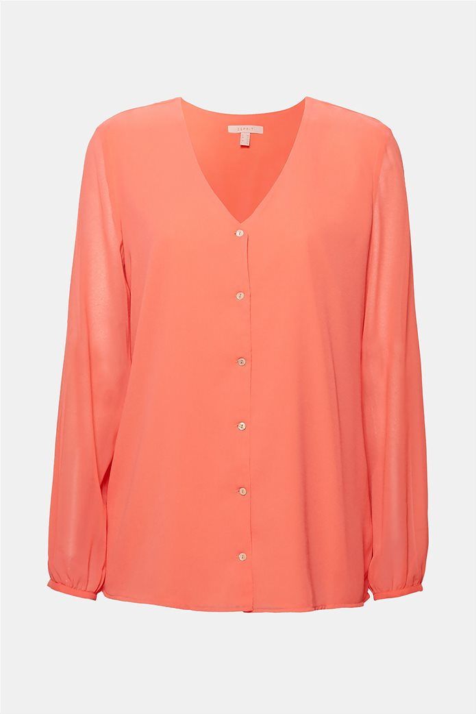 Esprit γυναικεία μπλούζα chiffon με κουμπάκια Κοραλί 6