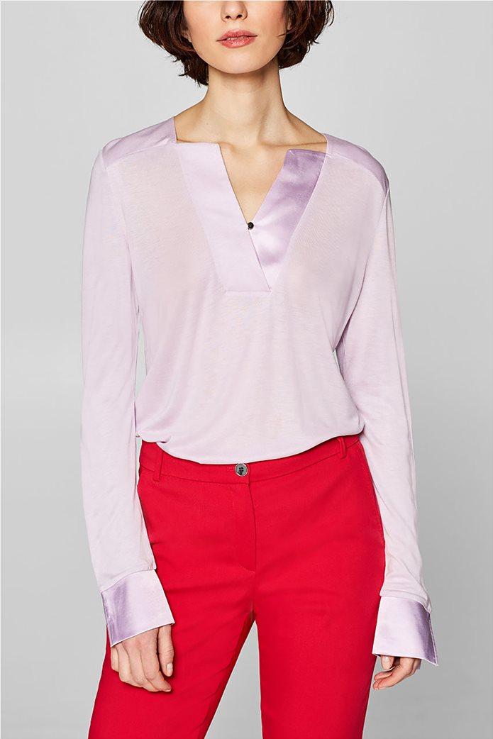 Esprit γυναικεία μπλούζα με σατέν λεπτομέρειες 0