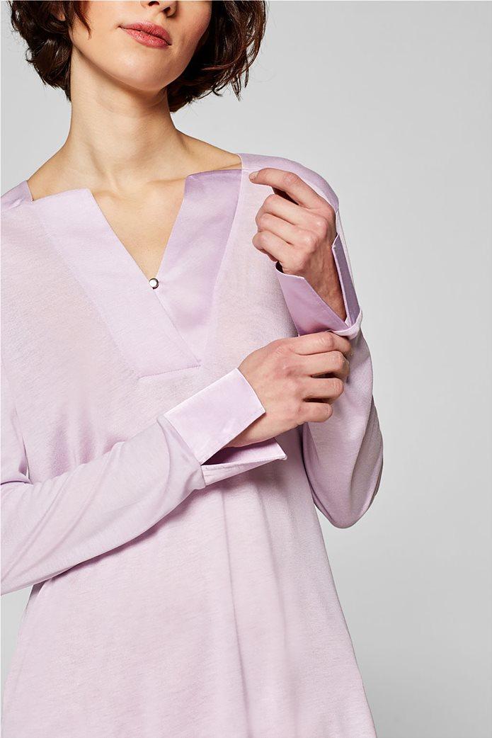Esprit γυναικεία μπλούζα με σατέν λεπτομέρειες 2
