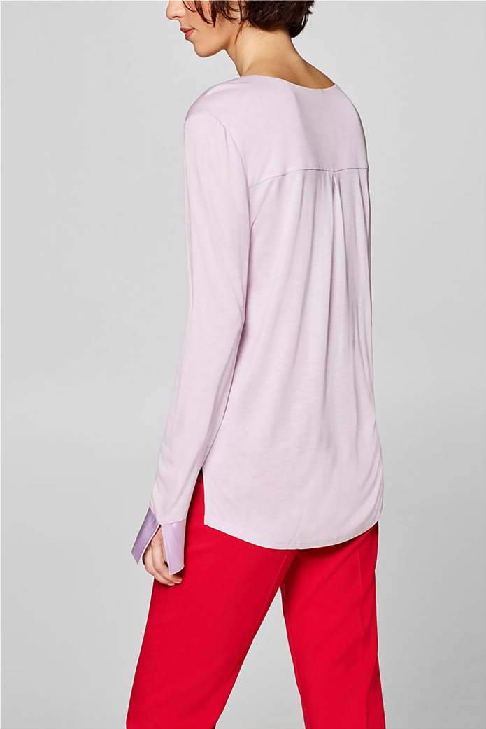 Esprit γυναικεία μπλούζα με σατέν λεπτομέρειες 3