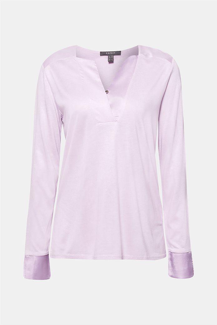 Esprit γυναικεία μπλούζα με σατέν λεπτομέρειες 6