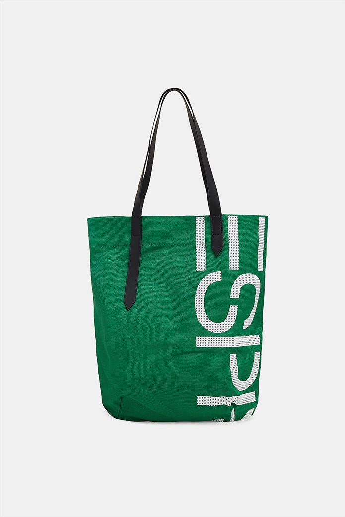 Esprit γυναικεία υφασμάτινη τσάντα shopper με logo print 0