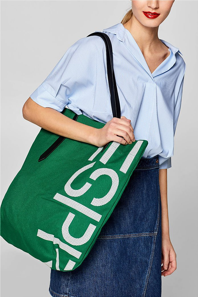 Esprit γυναικεία υφασμάτινη τσάντα shopper με logo print 1