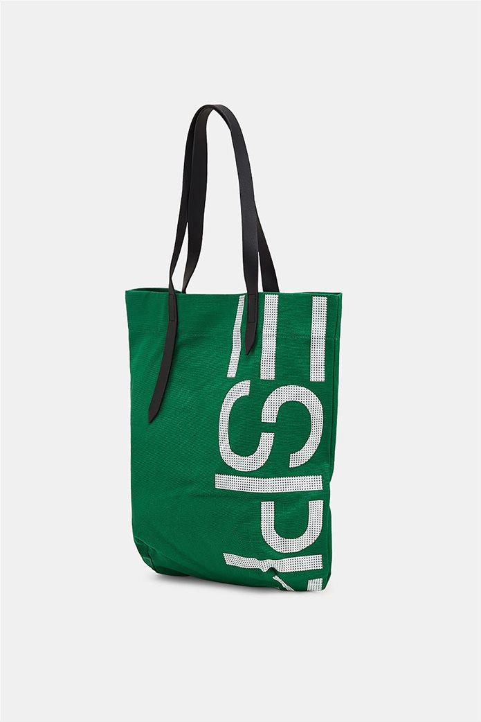 Esprit γυναικεία υφασμάτινη τσάντα shopper με logo print 2