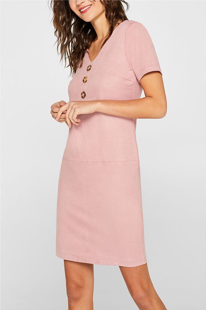 Esprit γυναικείο mini φόρεμα κοντομάνικο suede 0