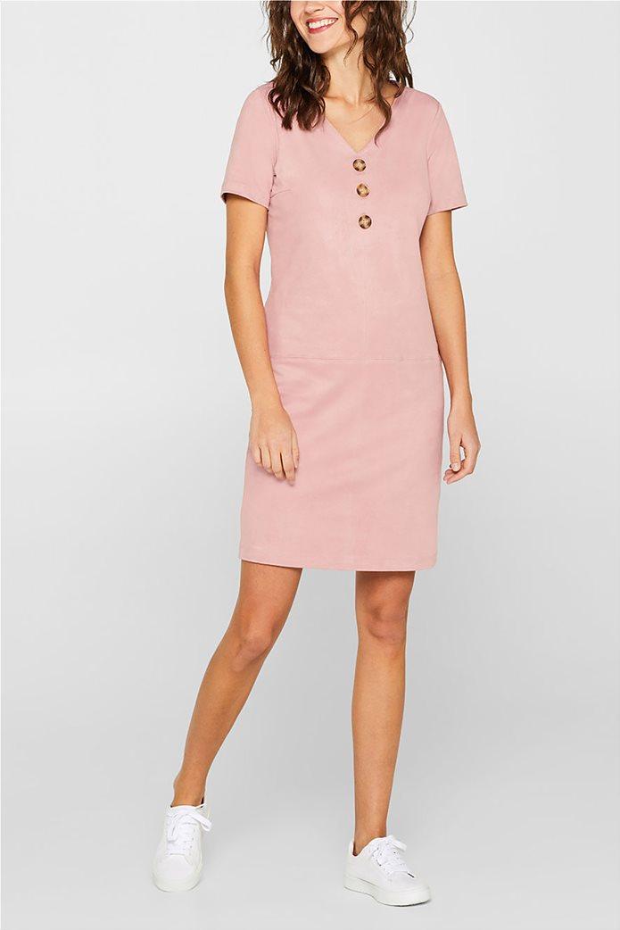 Esprit γυναικείο mini φόρεμα κοντομάνικο suede 1