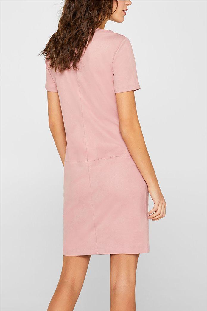Esprit γυναικείο mini φόρεμα κοντομάνικο suede 2