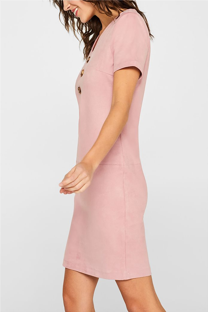 Esprit γυναικείο mini φόρεμα κοντομάνικο suede 3