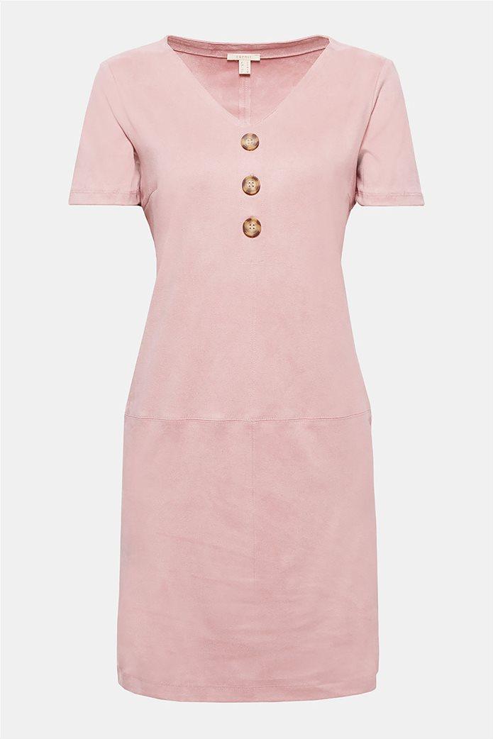 Esprit γυναικείο mini φόρεμα κοντομάνικο suede 5