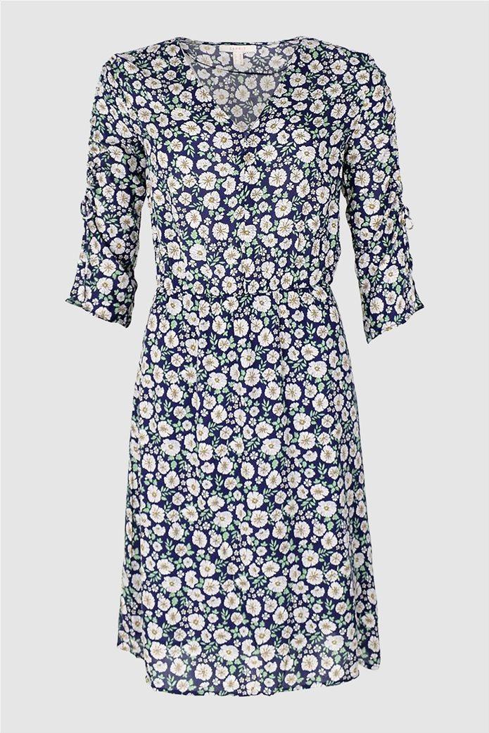 Εsprit γυναικείο φόρεμα floral με μανίκια 3/4 Μπλε Σκούρο 0