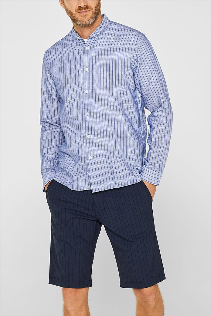 Esprit ανδρικό ριγέ πουκάμισο με μάο γιακά 0