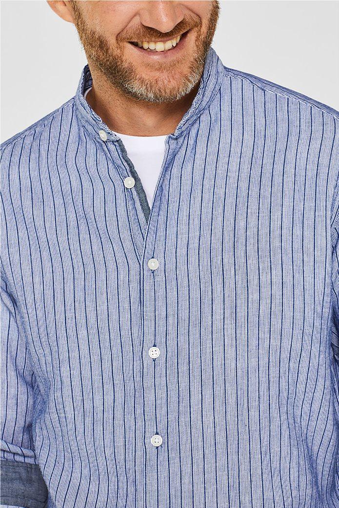 Esprit ανδρικό ριγέ πουκάμισο με μάο γιακά 2