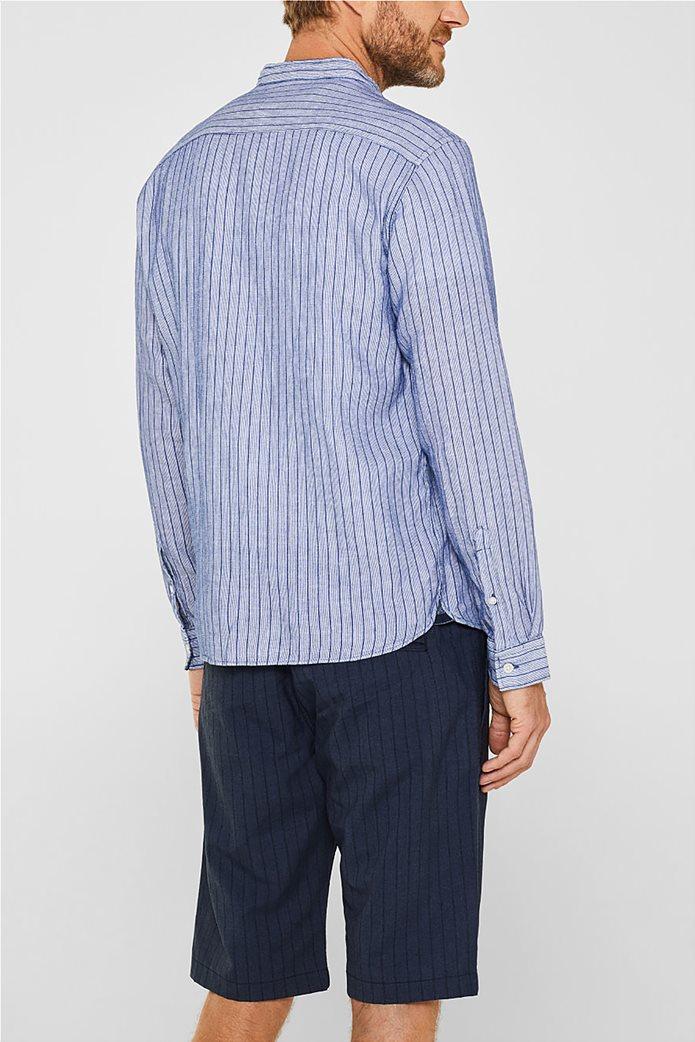 Esprit ανδρικό ριγέ πουκάμισο με μάο γιακά 3