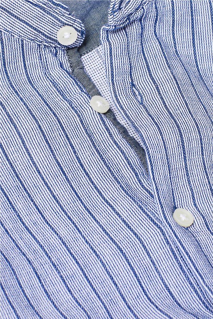 Esprit ανδρικό ριγέ πουκάμισο με μάο γιακά 4
