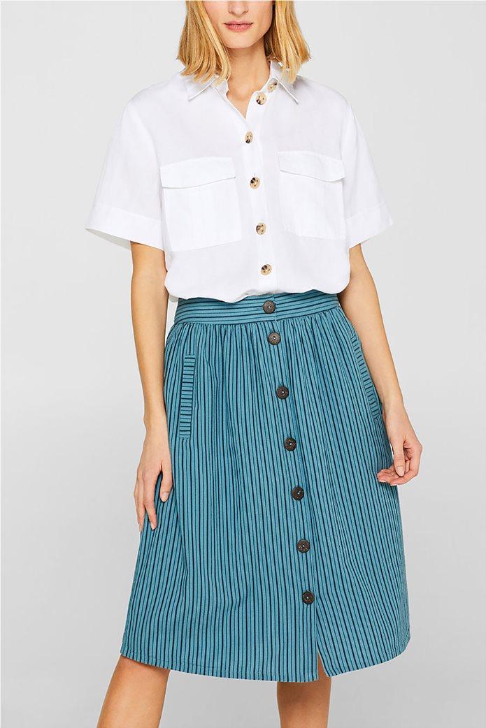 Esprit γυναικεία mini φούστα ριγέ με κουμπιά 0