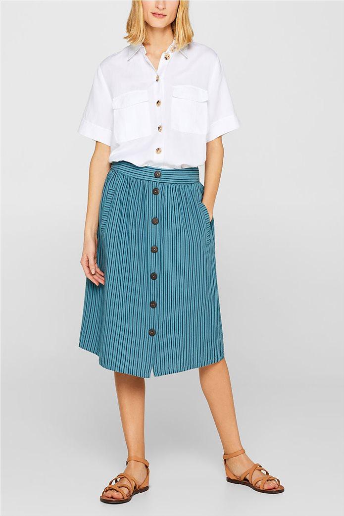 Esprit γυναικεία mini φούστα ριγέ με κουμπιά 1