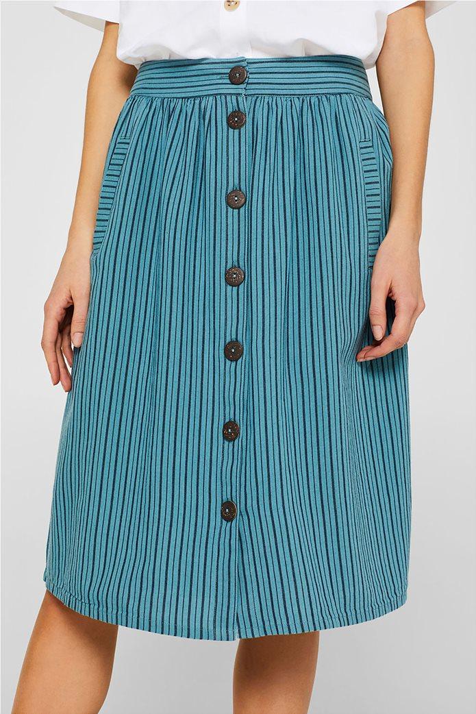 Esprit γυναικεία mini φούστα ριγέ με κουμπιά 2
