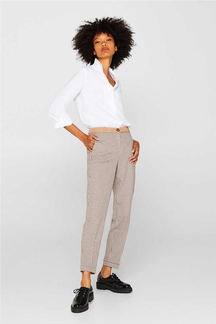 Esprit γυναικείο καρό παντελόνι cigarette 0