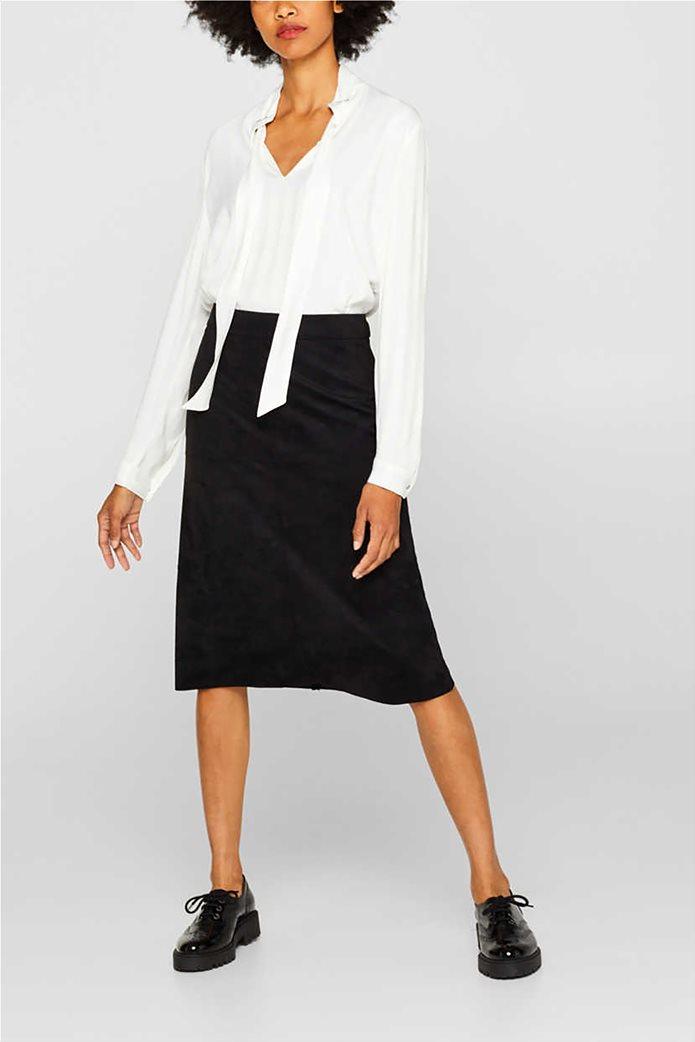 Esprit γυναικεία φούστα midi suede A γραμμή 3