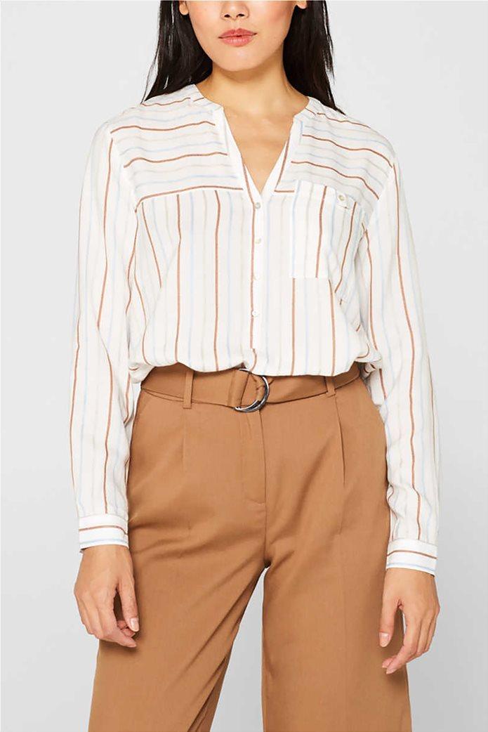 Esprit γυναικεία ριγέ μπλούζα με κουμπιά 0