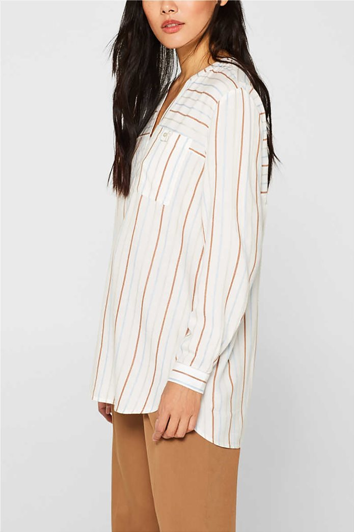 Esprit γυναικεία ριγέ μπλούζα με κουμπιά 2