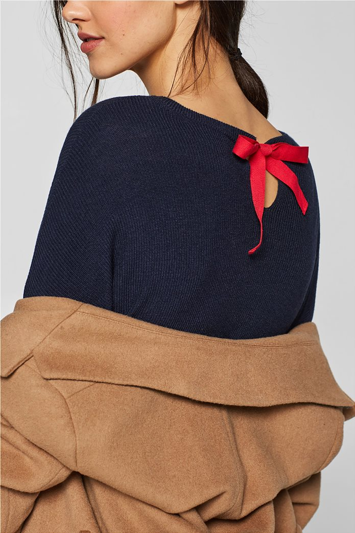 Esprit γυναικεία πλεκτή μπλούζα με φιόγκο στην πλάτη 2