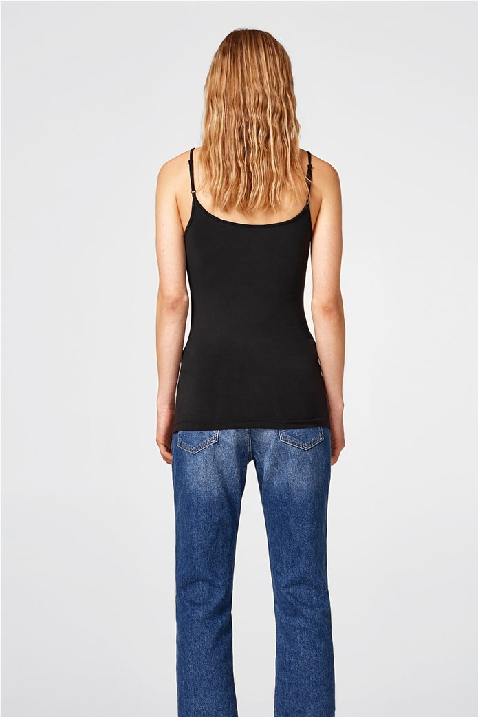 Esprit γυναικεία μπλούζα jersey μονόχρωμη με ράντες 3