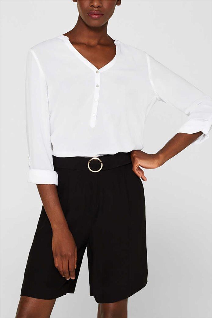 Esprit γυναικεία μακρυμάνικη μπλούζα με άνοιγμα V και κουμπιά 0