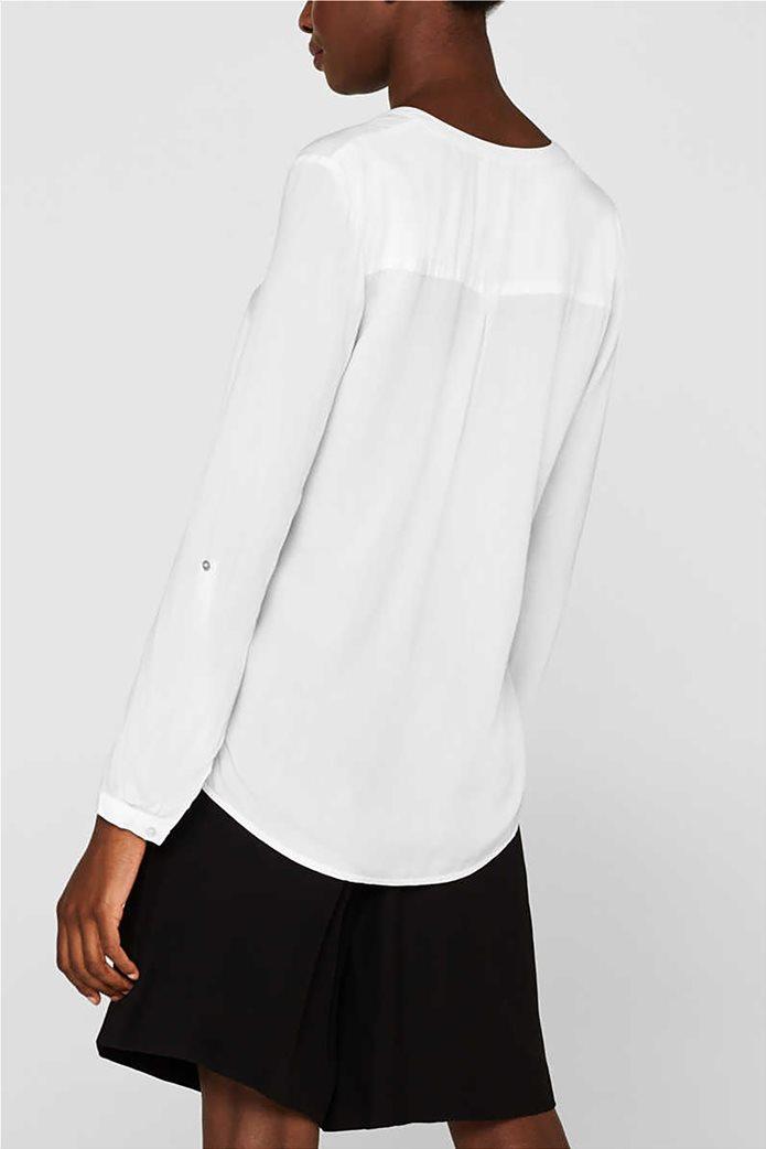 Esprit γυναικεία μακρυμάνικη μπλούζα με άνοιγμα V και κουμπιά 1