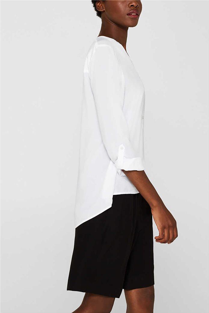 Esprit γυναικεία μακρυμάνικη μπλούζα με άνοιγμα V και κουμπιά 2