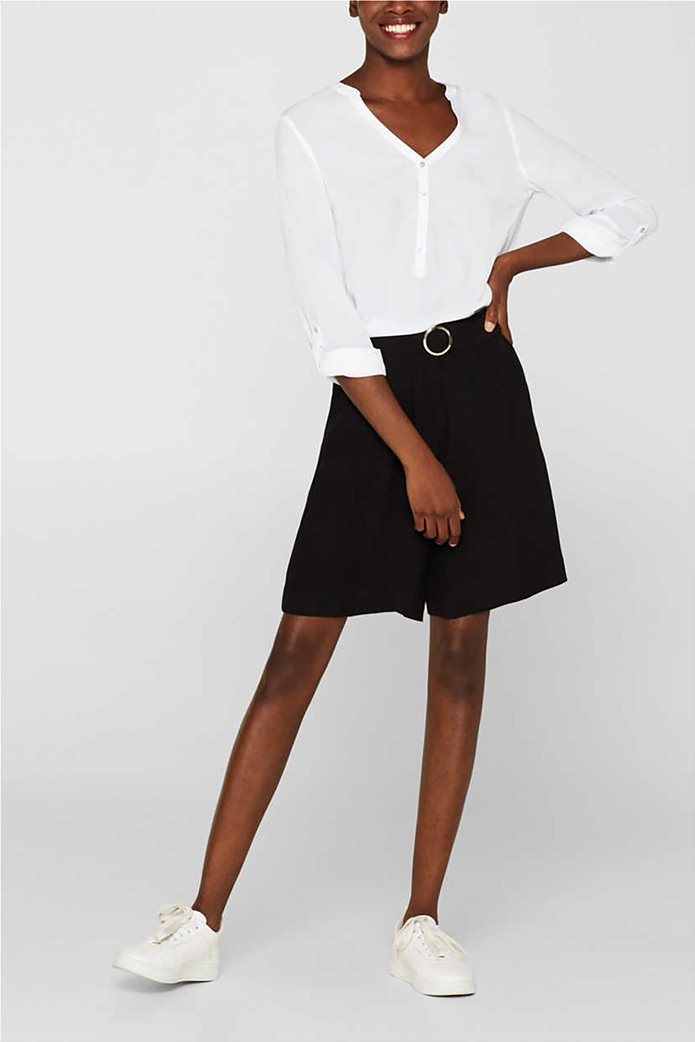 Esprit γυναικεία μακρυμάνικη μπλούζα με άνοιγμα V και κουμπιά 3