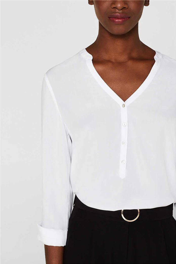 Esprit γυναικεία μακρυμάνικη μπλούζα με άνοιγμα V και κουμπιά 4