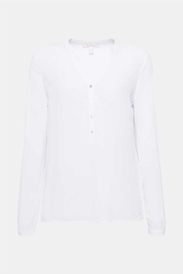 Esprit γυναικεία μακρυμάνικη μπλούζα με άνοιγμα V και κουμπιά 7